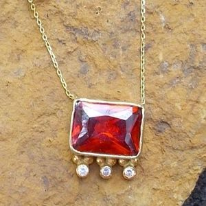 Red Quartz and CZ Gold Tone Necklace